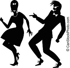 Early Rock silhouette - Vector silhouette of a couple...