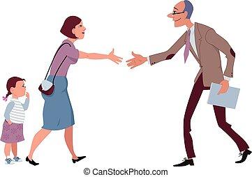 Meet the teacher - Woman with a little girl meets a teacher,...