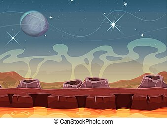 Fantasy Alien Planet Desert Landscape For Ui Game -...