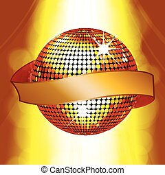 Disco ball with banner on glowing b