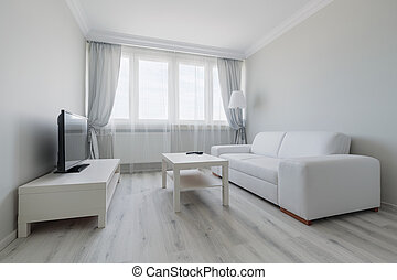 White living room design - Horizontal view of white living...