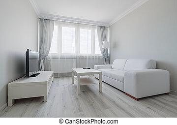 White living room design - Horizontal view of white living...