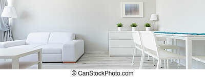 White interior in minimalist design - Panorama of white...
