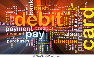 debit card word cloud box package