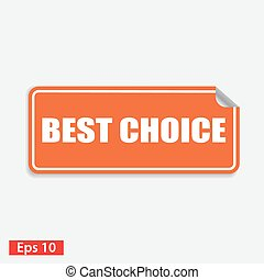 best choice orange square sticker isolated on white