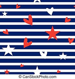Seamless striped pattern with hearts and stars.