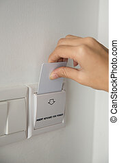 Key Card to activating the electricity in a room hotel - A...