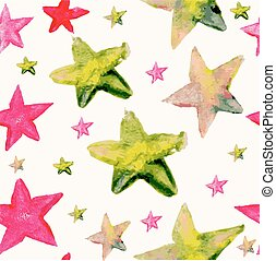 Watercolor star seamless pattern