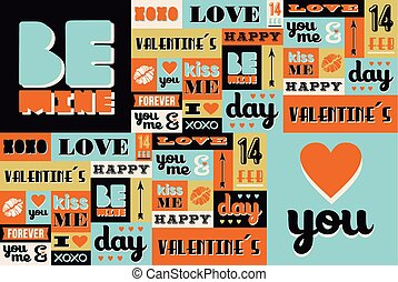 Happy Valentines Day retro vintage pattern