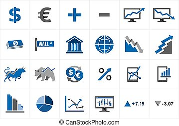 Stock market finance icon set - Stock market exchange and...