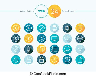 Money exchange outline flat icons set - Colorful flat...