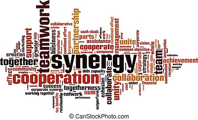 Synergy word cloud concept Vector illustration