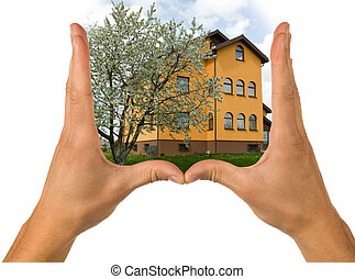 Hands and house - Hends and house on white background
