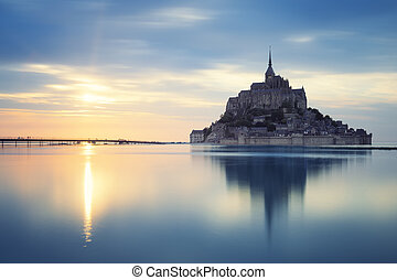 Mont-Saint-Michel at sunset, France, Europe.