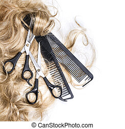 blond hair and scissors - Long blond hair and scissors...