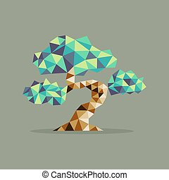 Origami triangle Bonsai tree illustration - Origami Bonsai...