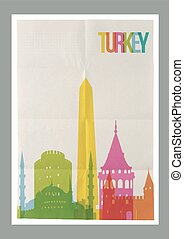 Travel Turkey landmarks vintage paper poster - Travel Turkey...