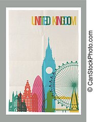 Travel United Kingdom landmarks skyline vintage poster -...