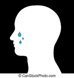 Male head with tears - Conceptual illustration of the...