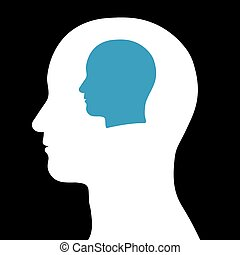 Male head within a head - Conceptual illustration of a...