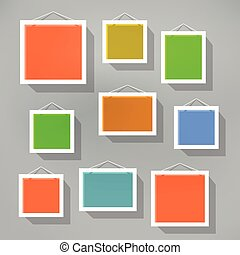 Blank color picture frame set on blured background Template...