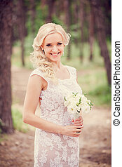 beautiful bride with a bouquet - The wedding ceremony...