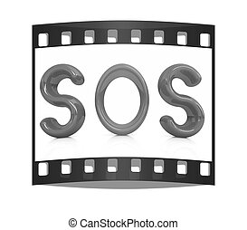 "3d red text ""sos"""
