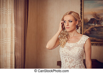 sweet couple - The wedding ceremony beautiful bride and...
