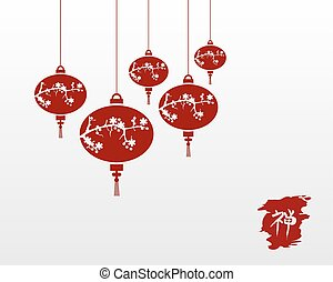 Zen chinese lamps illustration background - Red chinese...