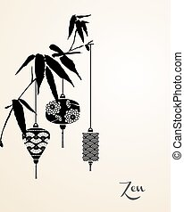 Zen elements background - Zen concept, chinese lamp hanging...