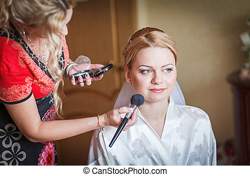 make up for bride - The wedding ceremony beautiful bride and...