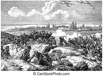 Siege of Danzig, vintage engraving. - Siege of Danzig,...