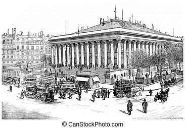 Paris Bourse, vintage engraving. - Paris Bourse, vintage...