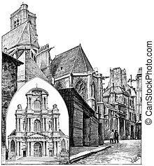 Facade of the church of Saint-Gervais and St. Protais, Apse...
