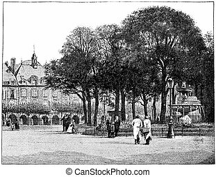 The garden of the Place des Vosges, vintage engraving - The...
