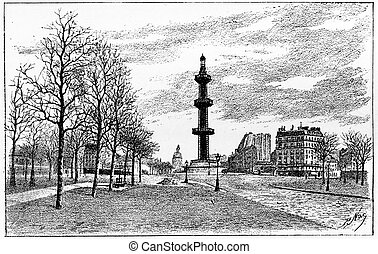The artesian well Grenelle, vintage engraving. - The...