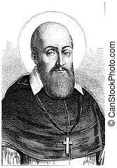 St. Francis de Sales, vintage engraving. - St. Francis de...