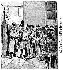In front of the flophouse of Vaugirard, vintage engraving.