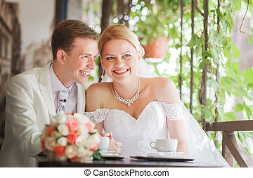 smiling bride - The wedding ceremony beautiful bride and...