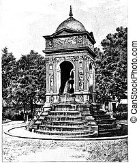 Fontaine des Innocents, vintage engraving - Fontaine des...