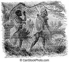 Bushmen hunting, vintage engraving. - Bushmen hunting,...