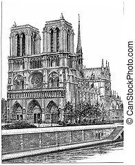 Notre-Dame de Paris, vintage engraving. - Notre-Dame de...