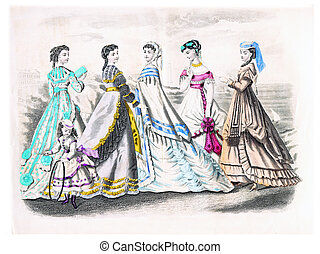 Godeys fashion for August 1868, vintage engraving - Godeys...
