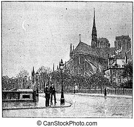 The apse of Notre Dame seen from St Louis bridge, vintage...