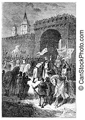 The farewell of St Louis and Blanche of Castile, vintage...