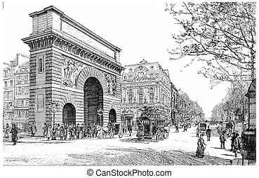 Boulevard and Porte Saint-Martin, vintage engraving -...