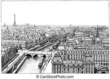 Panorama of the Seine near Notre Dame, vintage engraving. -...