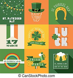 Happy St Patricks day label illustration - Set of flat...
