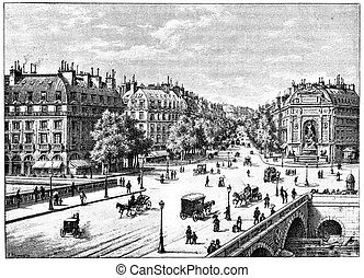The bridge, the square and the boulevard Saint-Michel,...