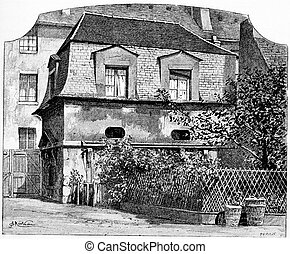 The former hunting lodge, vintage engraving. - The former...